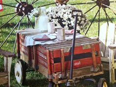 Make a table out of an old wagon.