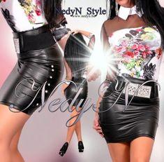 d29e2a4d6893 NedyN oldalán szegecses műbőr női szoknya *öv nélkül* - AdryFashion női  ruha webáruház, Ruha webshop, Amnesia, NedyN, Rensix , Egyedi ruha