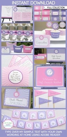 Type your own text into this HUGE Cooking party printable collection that includes Recipe Card Invitations and Recipe cards for your guests to take