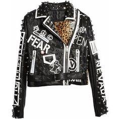 Leather Leopard Sex Pistol Punk Moto Jacket
