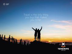 """Viajar es la única cosa que al comprarla nos hace más ricos"", Tenerife, Islas Canarias // ""Travel is the only thing you buy that makes you richer"", Canary Islands // ""Reisen ist das Einzige, was man kauft und einen reicher macht"", Teneriffa, Kanarische Inseln #VisitTenerife Canary Islands, Make It Yourself, How To Make, Movies, Movie Posters, Stuff To Buy, Life, Frases, Quotes"