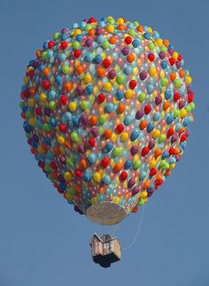 Matt Buck photographed this awesome hot air balloon designed and built by Exclusive Ballooning to look exactly like the floating house from Pixar Animation Studios' 2009 3D computer animated film Up.