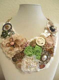 Vintage Button Fabric Flower Lace & Pearl by ExpressionsDesigned, $64.00