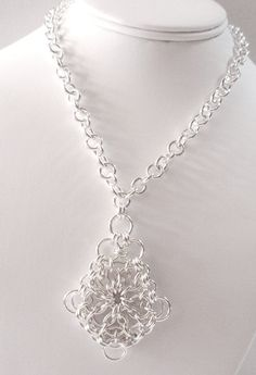 Chain Maille Sterling Silver Pendant Necklace by SomethingSilverCM, $145.00