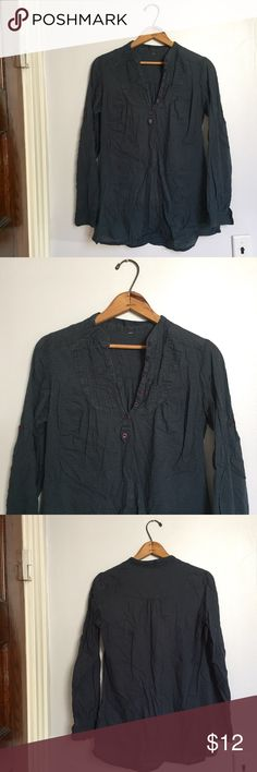 """Blue long sleeve top with quarter button-up - Size: no tag, I believe it's a medium as it fits me well. Measurements below - Material: n/a - Condition: looks like it once had a string to tighten towards the end, I posted a pic. Doesn't effect wear - Color: blue - Pockets: N - Lined: N - Closure: buttons near chest - Extra notes: bust is 18.5"""" flat, waist is 18"""" flat, length is 26.75"""". (2) Tops Blouses"""