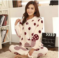 062a06f0d5 Qyz cute Cartoon Sweet Autumn Warm Pullover Sleepwear Dot Print Soft Pajamas