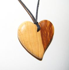 Olive Wood Pendant, wood jewelry,Heart