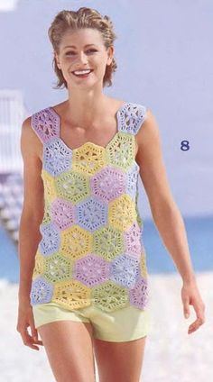 crochelinhasagulhas: colorful crocheted top