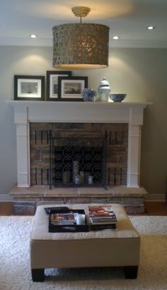 Raised faux fireplace... Alternative since my little monkey is allergic to smoke! Candles In Fireplace, Small Fireplace, Faux Fireplace, Fireplace Ideas, Farmhouse Fireplace, Fireplace Remodel, Fireplace Mantels, Fireplace Design, Gas Fireplaces