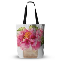 "Oriana Cordero ""Peonies"" Pink Green Everything Tote Bag"