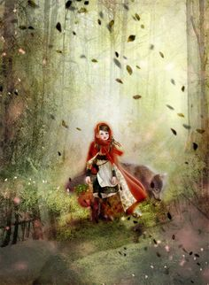 "Miharu Yokota, ""赤ずきん"" (""Little Red Riding Hood"") Little Red Ridding Hood, Red Riding Hood, Children's Book Illustration, Illustrations, Charles Perrault, Classic Fairy Tales, Fairytale Art, Red Hood, Whimsical Art"