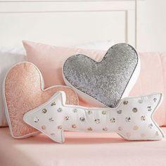 Nursery Accent Pillows - Project Nursery Sequin Shaped Pillows from PBteen - heart & arrow pillow Cute Pillows, Diy Pillows, Decorative Pillows, Accent Pillows, Pillow Ideas, Kilim Pillows, Sofa Cushions, Grey Cushions, Arrow Pillow