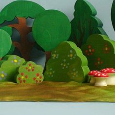 wooden tree and bush blocks - would love these to add to our farm and dollhouse sets