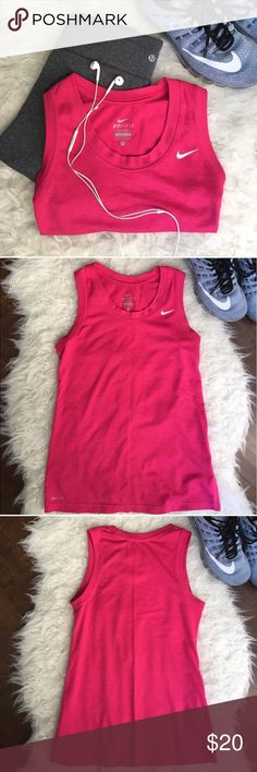 Nike Dri-Fit Tank Fucshia Small Dri-fit Nike tank. Bright pink! Size small. Worn maybe 3 times. Perfect condition Nike Tops Tank Tops