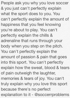 OMG! THIS IS THE EXACT THING THAT RUNS IN MY HEAD EVERYTIME SOMEONE ASKS ME WHY I LOVE SOCCER! ❤