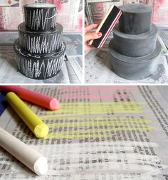 """chalkboard """"cake"""" - how fun to fill with gifts and avoid all those nasty calories! or fill with chocolate which is waaay better than cake! Chalkboard Party, Birthday Chalkboard, Birthday Box, Birthday Gifts, Frankie Magazine, Party Ideas, Gift Ideas, Diy Cake, Too Cool For School"""