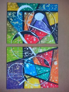 Colorful experiment with lines, stripes and circles. Two-part, 2x 50 x 40 cm canvases.