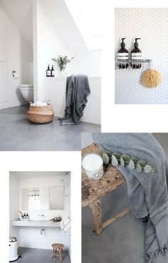 Bathroom inspiration - lovely textures, colours, white hexagonal mosaic tiles & cement floor.