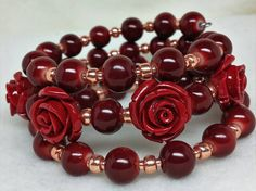 Red rose bracelet, red roses and dark red ceramic beads, rose gold seed beads, gypsy red rose bracelet, gorgeous red roses bracelet. by BohemianGirlArts on Etsy