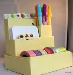 LAVENDER Cute desk organizer for supplies, washi tapes, pens, project life and Small Office Organization, Best Closet Organization, Homework Organization, Diy School Supplies, Diy Supplies, Home Renovation, Washi Tape Storage, Small Craft Rooms, Craft Room Storage