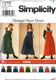 Simplicity 7316 Design Your Own Jumper With Detachable Collar Sewing Pattern, 6-10 & 12-16, UNCUT by DawnsDesignBoutique on Etsy