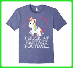 Mens Unicorn Football Shirt I Suck At Fantasy Sunday Funny Gift 2XL Heather Blue - Fantasy sci fi shirts (*Amazon Partner-Link)
