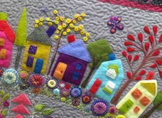 "Detalle del quilt ""Round the garden"", de Wendy Williams (http://www.flyingfishkits.com.au/kits/)."