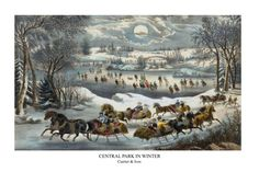 Central Park in Winter Publisher: Currier & Ives (American, active New York, Date: Medium: Hand-colored lithograph Central Park, Art Central, Winter Szenen, Currier And Ives, Park Art, New York, Christmas Art, Vintage Christmas, Christmas Paintings