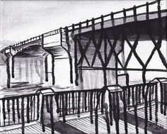 Drawing With Charcoal Painting by Sara Kerr - Portland Oregon Burnside Bridge Sketchbook Drawings, Easy Drawings, Charcoal Paint, Draw On Photos, Architecture Drawings, Drawing Techniques, Portland Oregon, Line Drawing, How To Draw Hands