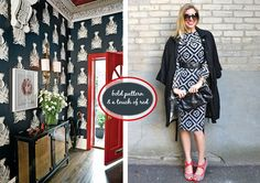 Outfits and Interiors from Pop and Circumstance - bold pattern & red accent, wallpaper