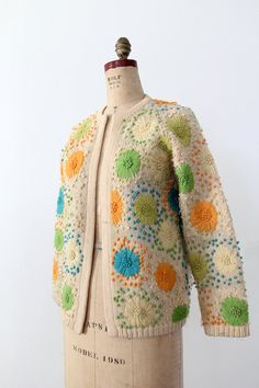 vintage 60s cardigan / embroidered sweater jacket by 86Vintage86, $150.00