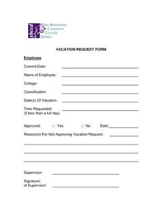 Employee Vacation Request Form   Employee Time Off Request