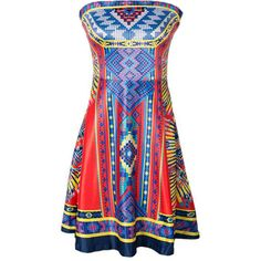 Strapless Unique Tribal Printed Skater Dress ($30) ❤ liked on Polyvore featuring dresses, strapless dresses, summer skater dress, tribal summer dresses, tribal print skater dress and print skater dress