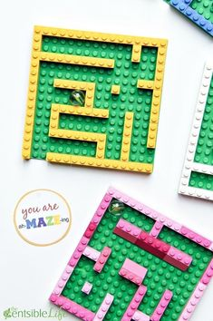 You are ah-MAZE-ing Valentine for kids. This LEGO mini marble maze and free prin… You are ah-MAZE-ing Valentine for kids. This LEGO mini marble maze and free printable gift tag are sure to be a hit with kids this Valentine's Day. Lego Club, Stem Activities, Activities For Kids, Activity Ideas, Lego Avengers, Lego Batman, Kids Crafts, Creative Crafts, Lego Maze