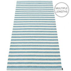 Strike bold with Pappelina's misty blue and vanilla striped Duo rug and add a pop of colour to your room.  The 85 cm wide Pappelina Duo is uniquely woven using an exceptional number of warp threads and comes in two practical lengths.  Pappelina rugs are fantastic for areas with heavy foot traffic. They are woven from soft plastic using traditional Swedish techniques, they are fully reversible and washable, although a quick vacuum is all they will need to keep them looking good as new.