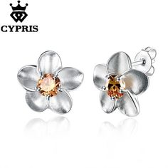 Find More Stud Earrings Information about E178 Lose money Wholesale silver flower  earrings silver  fashion jewelry, Yellow Stone Rose Earrings  CYPRIS fine,High Quality earings red,China earrings wedding Suppliers, Cheap earrings princess from CYPRIS Official Store on Aliexpress.com #onyxearringsstudswomen