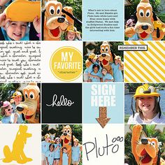 Pluto Character Disney Project Life Page by ashleywb using Project Mouse by Britt-ish Designs and Sahlin Studio
