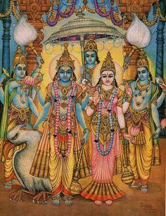 Vishnu and Lakshmi with the council of ministers in Vaikuntha. Hanuman Images, Lord Krishna Images, Om Namah Shivaya, Ganesha Art, Shri Ganesh, Shree Krishna, Durga, Maa Image, Lord Rama Images