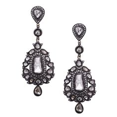 Gorgeous Pair Rose Cut Diamonds Earring. This Gorgeous Rose Cut Diamond Earring is stunning & head turner for any occasion. Diamond: 7.55cts. It's 3.25 inch long with a little swing. India, 2010