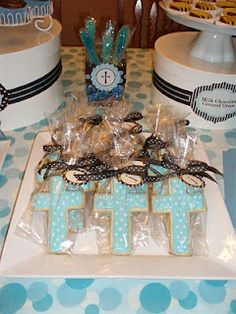 """Baptism favors. """"Nothing could beat Mom's homemade, vitamin-rich, soy-based, germ-free, fat-free fiber cookies."""""""