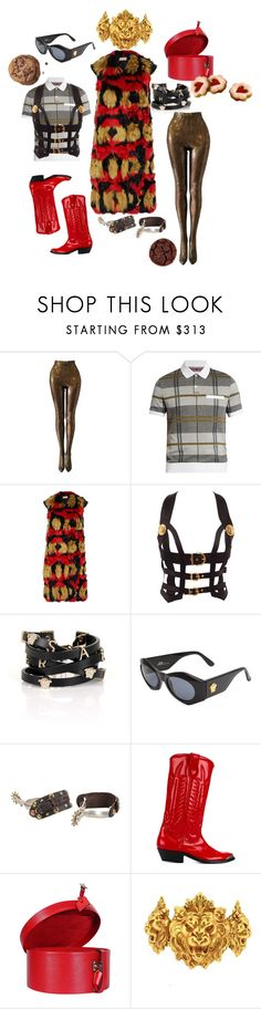 """""""serving looks / singing hooks"""" by thedeannaelizabeth on Polyvore featuring Versace, Moncler Gamme Bleu, Marni, Golden Goose, Louis Vuitton and Askew London"""
