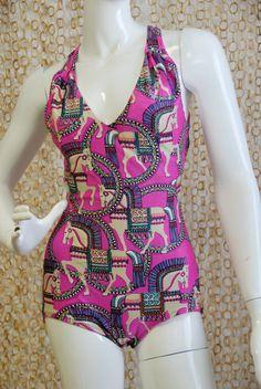 EPIC 1960s op art horse print one piece bathing suit play suit mod groovy