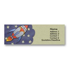 Retro Rocket Kids Skinny Profile Cards Business Card