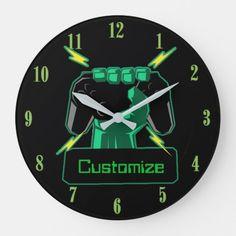 Shop Personalized Power Gamer Round Clock created by ManCavePortal. Wedding Invitation Wording, Invitation Cards, Dog Bowtie, Art For Kids, Party Supplies, Art Pieces, Nerd, Geek Stuff, Clock