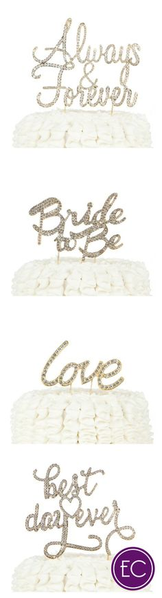 Beautiful gold rhinestone wedding cake toppers