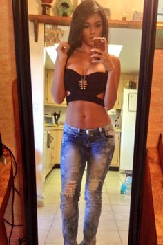 Spring Outfit - Going Out Outfit - Black Crop Top with Cut Outs - Ripped Jeans