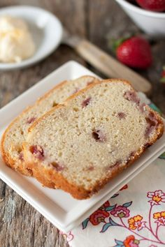 Fresh, seasonal strawberries elevate quick bread to a wonderful breakfast or afternoon snack, perfect with a cup of tea.