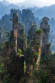 This is a picture of Zhangjiajie who inspired the floating mountains seen in the movie Avatar.  Wulingyuan Scenic and Historic Interest Area is an UNESCO World Heritage Site and as well an AAAAA scenic area by the China National Tourism Administration.  It is Located in Northwestern part of Hunan province in central China.