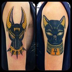 Anubis & Bast tattoo - http://99tattoodesigns.com/anubis-bast-tattoo/