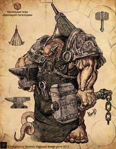 Ferrarius, Hell's Blacksmith Character Concept, Character Art, Concept Art, Fantasy Monster, Monster Art, Weird Creatures, Fantasy Creatures, Fantasy Rpg, Dark Fantasy